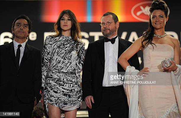 French actress Charlotte Gainsbourg her husband Yvan Attal Danish director Lars Von Trier his wife Bente Froge arrive for the screening of the movie...