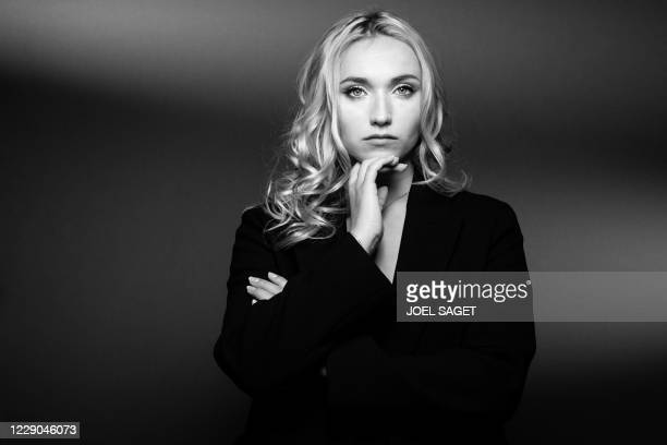 French actress Chloe Jouannet poses for a photo session during the 3rd edition of the Cannes International Series Festival in Cannes, southern...