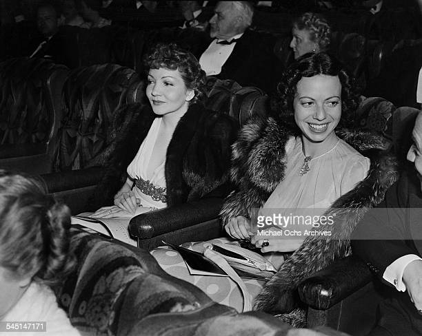 French actress Claudette Colbert attends an event in Los Angeles California
