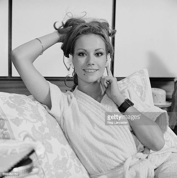 French actress Claudine Auger advertises objects sold in The Gadgeterie the Paris boutique owned by Marianne Frey Paris France 3rd October 1967
