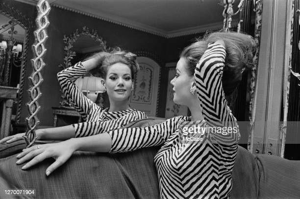French actress Claudine Auger at her hotel UK 28th December 1965