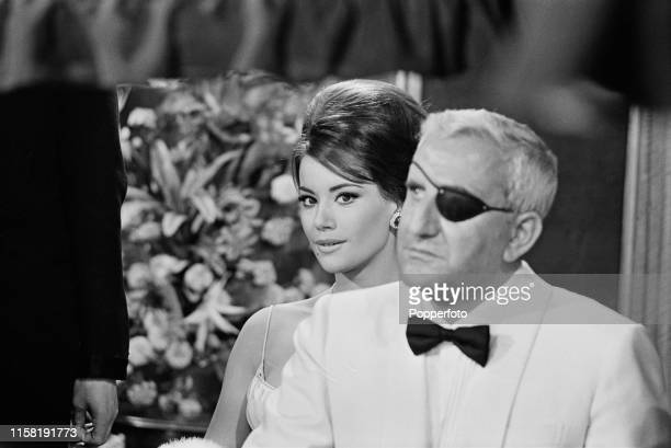 French actress Claudine Auger pictured in character as Domino Vitali with Italian actor Adolfo Celi playing Emilio Largo of SPECTRE during the...