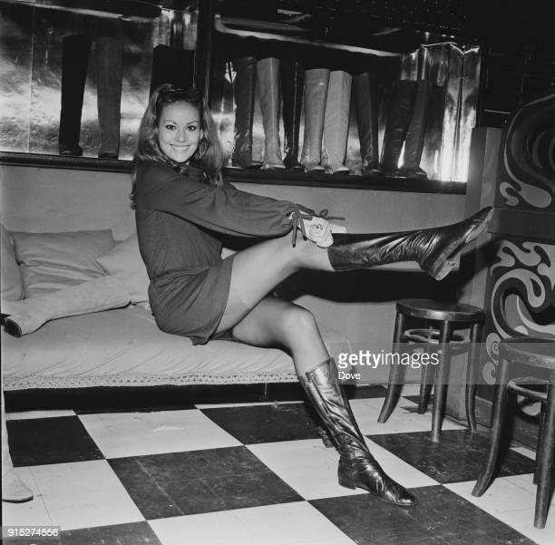 French actress Claudine Auger shopping in London UK 19th February 1968