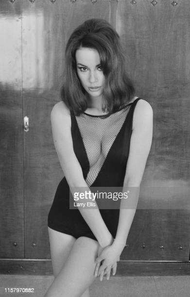 French actress Claudine Auger wearing a black vshaped costume UK 26th February 1965