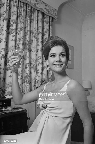 French actress Claudine Auger who stars in the James Bond film 'Thunderball' UK 29th December 1965 She is dressed for the film's London premiere