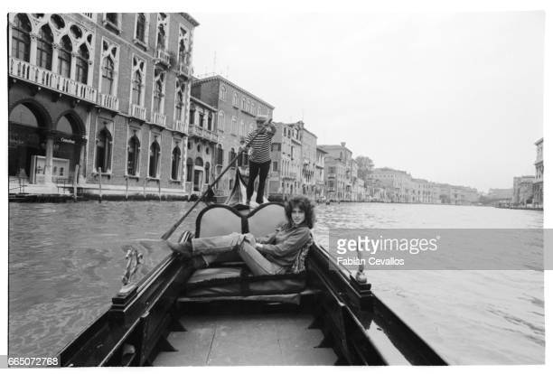 French actress Clio Goldsmith glides down a Venetian canal in a gondola in between filming scenes for French director Michel Lang's film The Gift