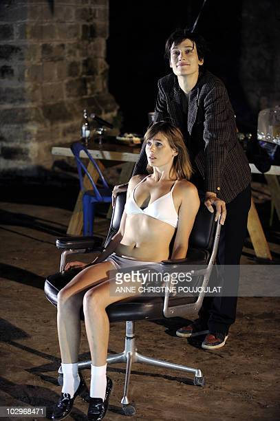 """French actress Clotilde Hesme performs with Jeanne Tremsal during a rehearsal of """"Ball"""" by Bertolt Brecht directed by French François Orsoni on July..."""