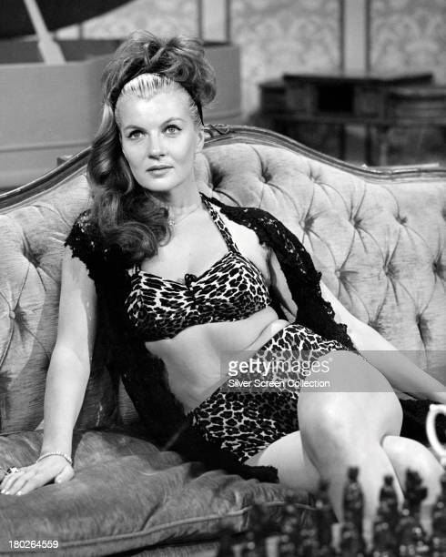 French actress Corinne Calvet wearing a leopard print bikini during an appearance on the US television programme 'DuPont Show of the Week' 8th May...