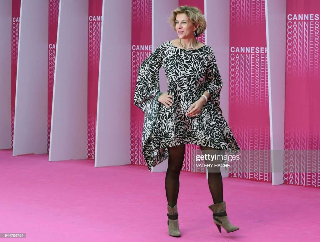 French actress Corinne Touzet poses as she arrives at the closing ceremony  of The Canneseries Television