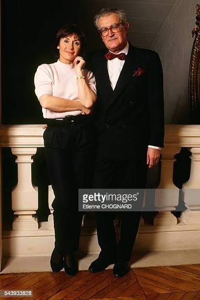 French actress Daniele Evenou and politician Georges Fillioud during the Festival du Film Policier de Cognac