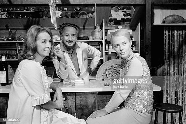 French actress Danielle Darrieux American actress Jean Seberg with her husband French writer and director of Polish origin Romain Gary on the set of...