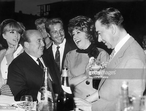 French Actress Dany Saval FilmMaker Marcel Carne French Singer Dany Logan Actress Suzy Delair And Actor Paul Meurisse In EpinaySurSeine On September...