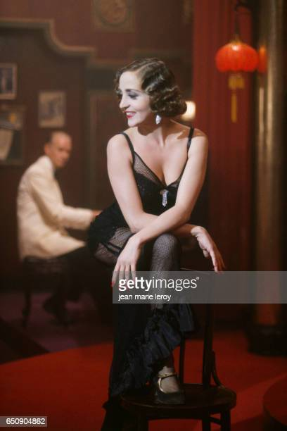 French actress Dominique Blanc on the set of 'Indochine' by French director screenwriter and actor Regis Wargnier