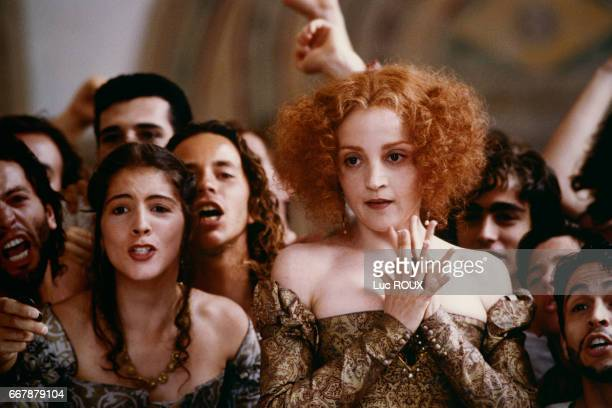 French actress Dominique Blanc on the set of the 1994 film La Reine Margot directed by Patrice Chereau