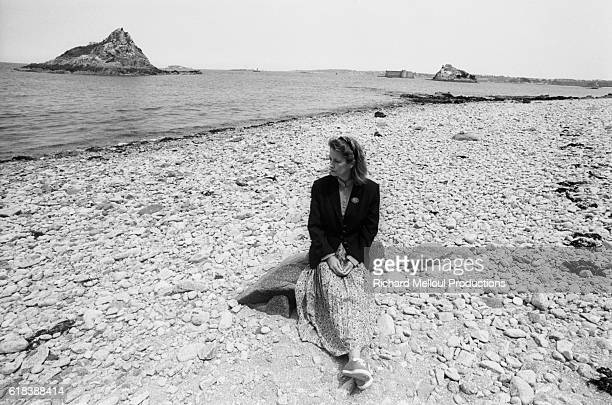 French Actress Dominique Lavanant on Beach