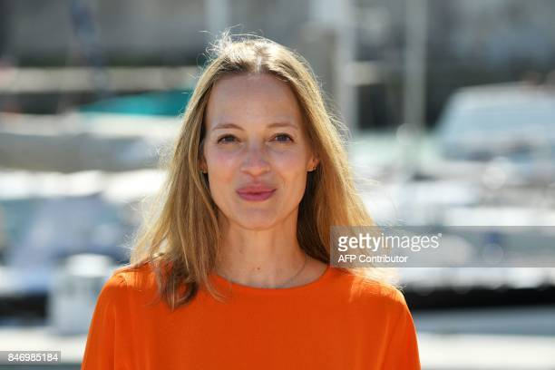 French actress Elodie Frenck poses during the 19th edition of the Festival de fiction TV in La Rochelle western France on September 14 2017 / AFP...
