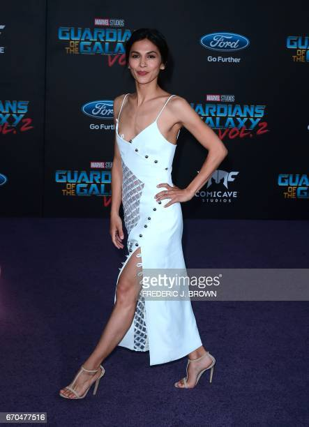 French actress Elodie Yung arrives for the world premiere of the film 'Guardians of the Galaxy Vol 2' in Hollywood California on April 19 2017 / AFP...