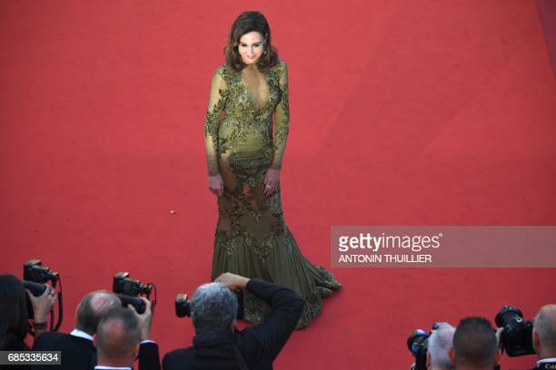French actress Elsa Zylberstein poses as she arrives on May 19 2017 for the screening of the film 'Okja' at the 70th edition of the Cannes Film...