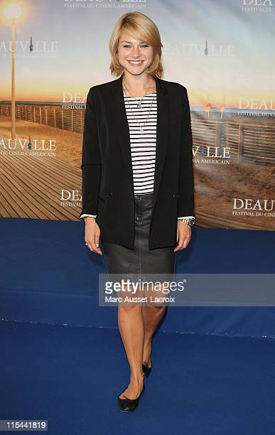 French Actress Emilie Dequenne poses during the photocall 'Jury of the Palmares' during the 35th Deauville Film Festival on September 7 2009 in...