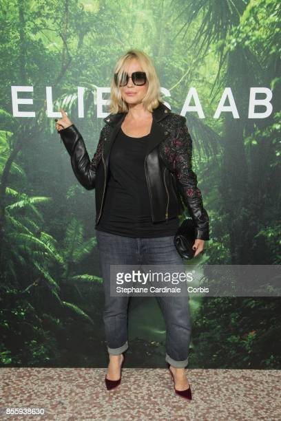 French actress Emmanuelle Beart attends the Elie Saab show as part of the Paris Fashion Week Womenswear Spring/Summer 2018 at on September 30 2017 in...