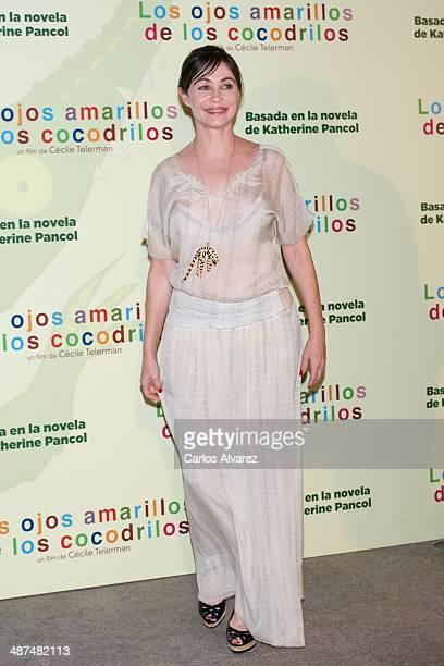 French actress Emmanuelle Beart attends the Los Ojos Amarillos de los cocdrilos premiere at the Academia de Cine on April 30 2014 in Madrid Spain