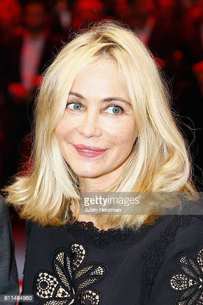 French actress Emmanuelle Beart attends the Renault Party at 'Mondial De L'Automobile' at Parc des Expositions Porte de Versailles on September 29...