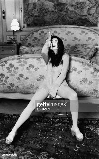 French actress Emmanuelle Beart during a photo shoot at the Ritz hotel in Paris
