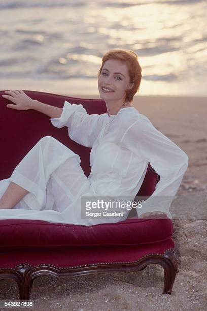 French actress Emmanuelle Beart during the Romantic Film Festival of Cabourg