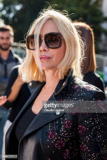 French actress Emmanuelle Beart is seen after the Elie Saab show during Paris Fashion Week Womenswear SS18 on September 30 2017 in Paris France