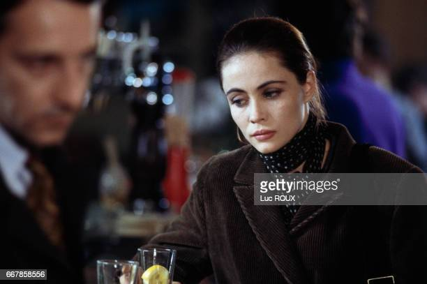 French actress Emmanuelle Beart on the set of the film Nelly et Monsieur Arnaud directed by Claude Sautet