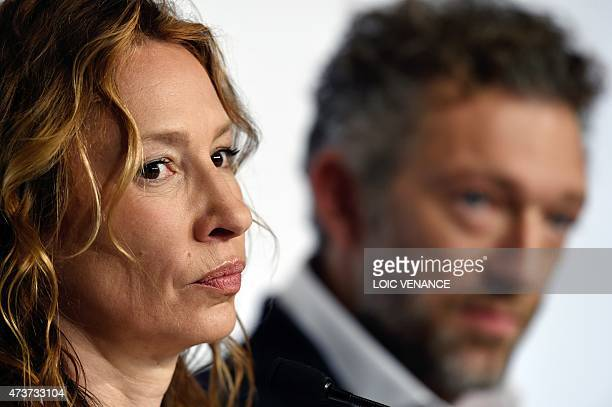 """French actress Emmanuelle Bercot attends a press conference for the film """"Mon Roi"""" at the 68th Cannes Film Festival in Cannes, southeastern France,..."""