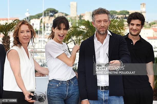 French actress Emmanuelle Bercot, French actress and director Maiwenn, French actor Vincent Cassel and French actor Louis Garrel pose during a...