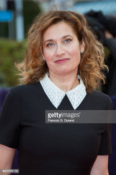 French actress Emmanuelle Devos arrives at the 'Kidnap' premiere during the 43rd Deauville American Film Festival on September 3 2017 in Deauville...