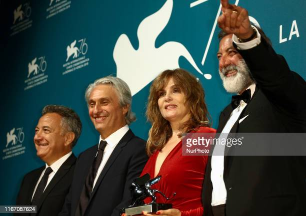 French actress Emmanuelle Seigner flanked by Italian producer Paolo Del Brocco French producer Alain Goldman and Italian producer Luca Barbareschi...