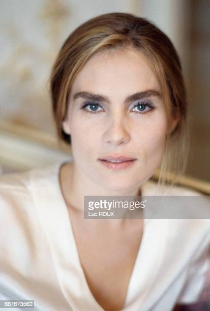French actress Emmanuelle Seigner on the set of the film Place Vendome directed by Nicole Garcia