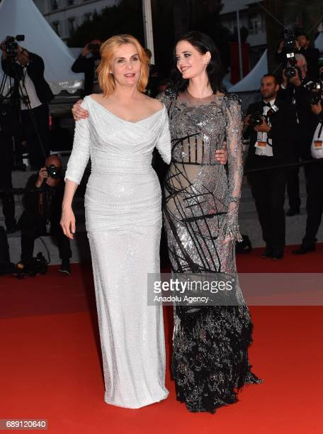 French actress Eva Green and French actress Emmanuelle Seigner leave the screening of the film D'apres Une Histoire Vraie out of competition at the...