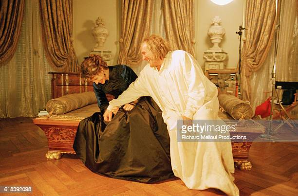 French actress Fanny Ardant on the film set of Balzac with French actor Gerard Depardieu