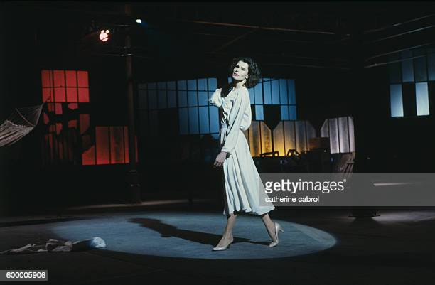 French actress Fanny Ardant on the set of Michel Deville's film Le Paltoquet