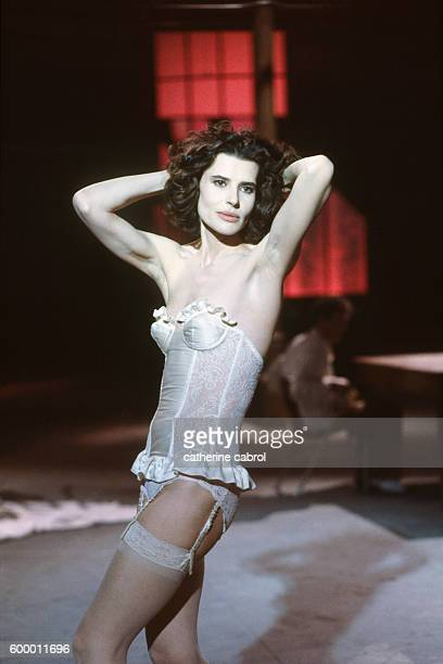 French actress Fanny Ardant on the set of the film 'Le Paltoquet' directed by Michel Deville