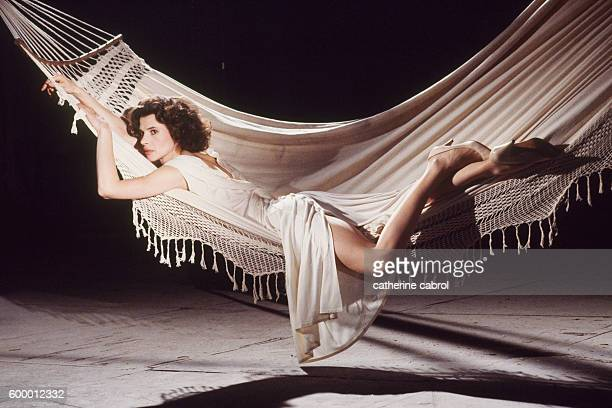 French actress Fanny Ardant on the set of the film Le Paltoquet directed by Michel Deville