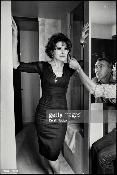 French actress Fanny Ardant photographed for a feature in the French magazine MarieClaire standing in a shower of a luxury bathroom of a hotel on the...