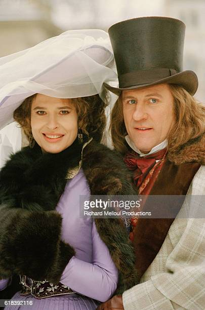 French actress Fanny Ardent on the film set of Balzac with French actor Gerard Depardieu