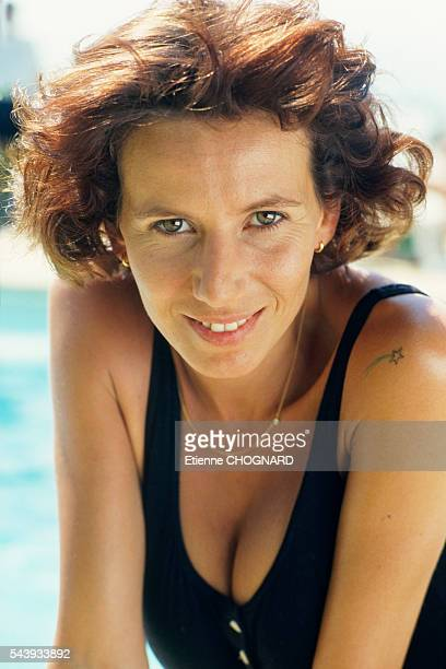 French actress Fiona Gelin during the filming of television series Un Prive au Soleil