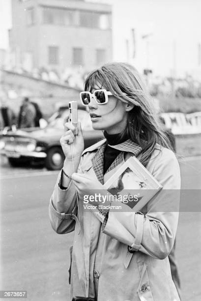 French actress Francoise Hardy at Brands Hatch to film John Frankenheimer's racing drama 'Grand Prix'