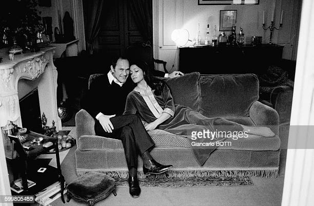 French Actress Françoise Fabian With Husband Actor Marcel Bozzuffi At Home In Paris France Circa 1970