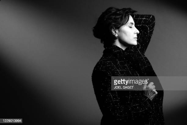 French actress Geraldine Pailhas poses for a photo session during the 3rd edition of the Cannes International Series Festival in Cannes, southern...