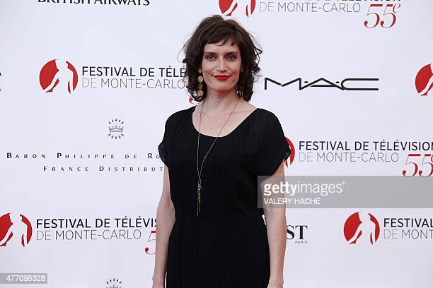 French actress Helene Seuzaret poses during the opening ceremony of the 55th MonteCarlo Television Festival on June 13 in Monaco AFP PHOTO / VALERY...