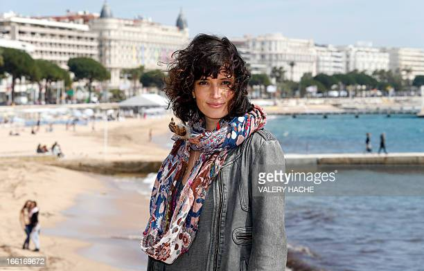 French actress Helene Seuzaret poses during the photocall of the No Limit TV show on April 9 2013 in Cannes southeastern France during the MIPTV one...
