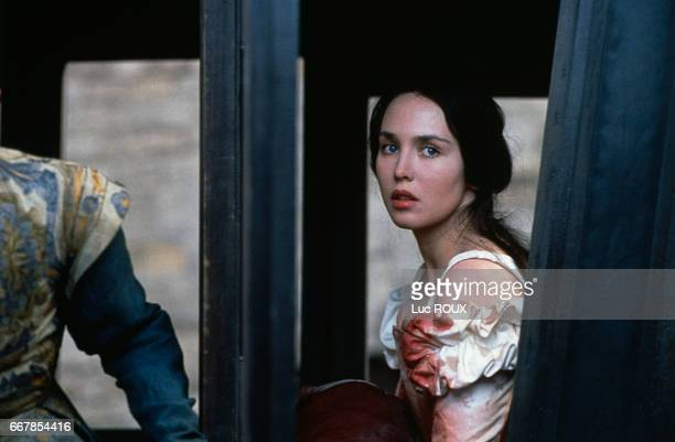 French actress Isabelle Adjani on the set of the 1994 film La Reine Margot directed by Patrice Chereau