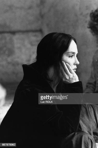 French actress Isabelle Adjani on the set of the 1994 film La Reine Margot , directed by Patrice Chereau.